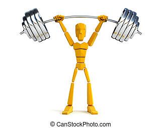 pesado, asimiento, 3d, peso, hombre