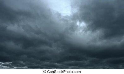 pesado, através, céu, vídeo, nuvens, tração, tempestade, ...