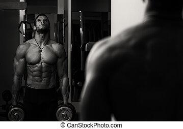 pesado, bíceps, peso, atleta, macho, ejercicio