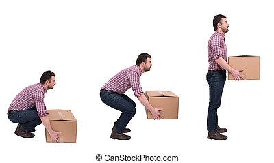 pesado, backache, peso, contra, caixas, adequado, levantamento