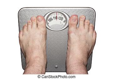 pesado, barefoot., pesar balanzas, piso, hombre