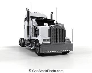pesado, blanco, camión, aislado, plano de fondo