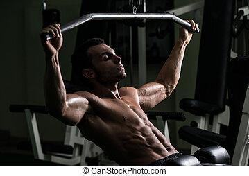 pesado, bodybuilder, costas, peso, exercício