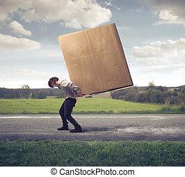 pesado, caixa, homem