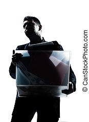 pesado, caixa, negócio, carregar, retrato, homem