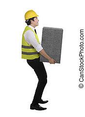 pesado, caixa, negócio, elevador, asian tripulam