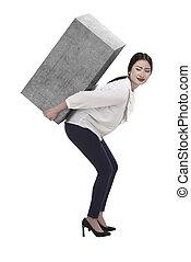 pesado, caixa, negócio mulher, elevador, asiático