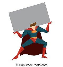 pesado, caixa, superhero, levantamento