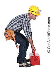 pesado, caja, herramienta, trabajador