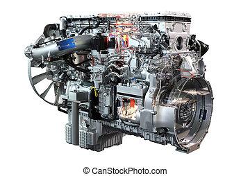 pesado, caminhão, diesel, isolado, motor