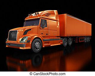 pesado, caminhão vermelho, isolado, ligado, pretas
