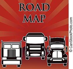 pesado, camiones, sol, tres, unidad, vector, camino
