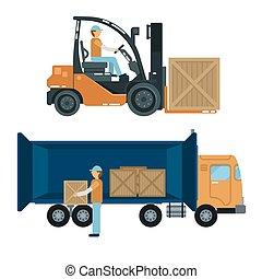 pesado, carga, carregando, industry., forklift, trabalhador, ilustração, vetorial, driver., truck., recipientes, transportation.