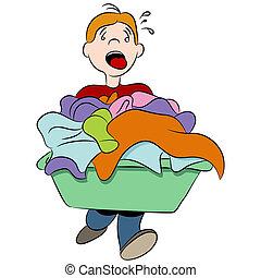 pesado, cesta, lavanderia