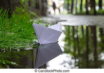 pesado, cidade, após, fluxo, ruas, chuva, papel, entre, bote, bóias