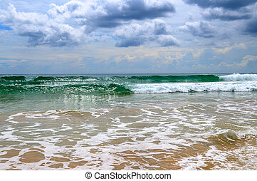 pesado, cloudscape, playa., tormenta, dramático, sri, lluvia, tropical, lanka., litoral, horizonte, arenoso