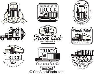 pesado, clube, emblemas, caminhão, pretas, branca
