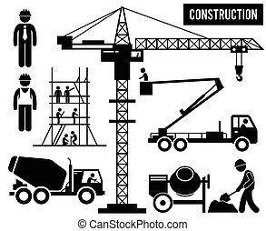 pesado, construção, pictograma