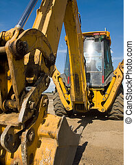 pesado, construcción, deber, sitio, equipo, trabajo, ...