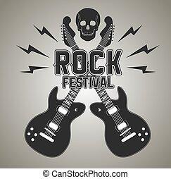 pesado, cranio, cartaz, metal, guitarra, rocha, ou