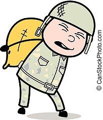 pesado, cute, exército, -, ilustração, soldado, vetorial, encargo, caricatura, homem