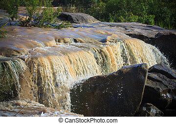 pesado, despejar, muito, após, água, lama, selva, baixo, watercourse