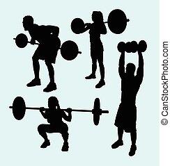 pesado, desporto, silueta, levantamento