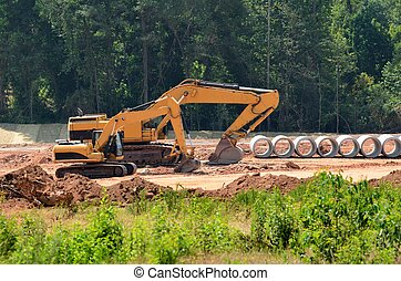 pesado, equipo construcción