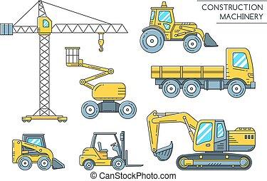 pesado, esboço, ícones, maquinaria construção, transporte
