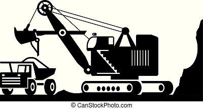 pesado, excavador, mineral, deber, carga, camión