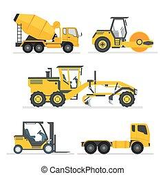 pesado, garfo, jogo, machines., concreto, lift., ilustração, veículos, isolado, misturador, reboque, equipamento, rolo, grader, longo, vector., caminhão cimento, construção, estrada, edifício.