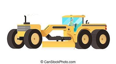 pesado, grader., cor, isolado, equipamento, vetorial, veículo motor, illustration.