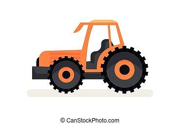 pesado, grande, apartamento, fazenda, equipment., machinery., vetorial, vehicle., laranja, agrícola, wheels., trator, ícone