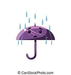 pesado, guarda-chuva, chuva, sob