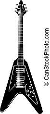 pesado, guitarra, vetorial, metal, elétrico