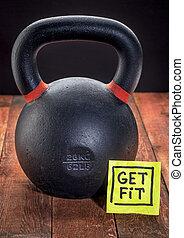 pesado, hierro, kettlebell, -, condición física, concepto