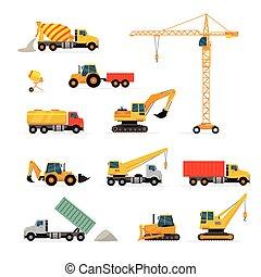 pesado, ilustrações, jogo construção, máquinas