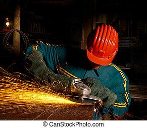 pesado, indústria, trabalhador manual, com, moedor, 01