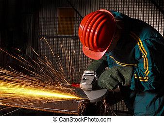 pesado, indústria, trabalhador manual, com, moedor, 02