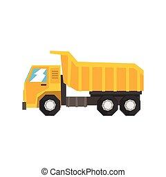 pesado, industrial, basurero, amarillo, vector, ilustración, camión, maquinaria
