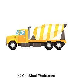 pesado, industrial, concreto, amarela, misturador, equipamento, maquinaria, construção, vetorial, ilustração, caminhão