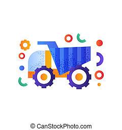 pesado, industrial, entulho, ilustração, vetorial, maquinaria, fundo, caminhão, branca