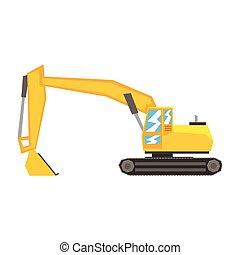 pesado, industrial, escavador, amarela, equipamento, maquinaria, construção, vetorial, ilustração
