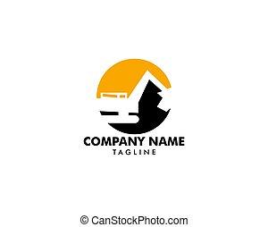 pesado, industrial, escavador, equipamento, vetorial, logotipo, construção, modelo