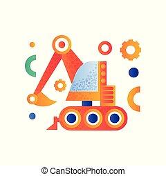 pesado, industrial, escavador, ilustração, vetorial, maquinaria, fundo, construção, branca