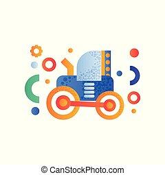 pesado, industrial, ilustração, trator, vetorial, maquinaria, fundo, agrícola, branca
