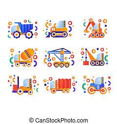 pesado, industrial, jogo, ilustração, vetorial, transporte, fundo, construção, branca, especiais, maquinaria