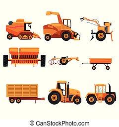 pesado, industry., diferente, conjunto, plano, granja,...