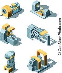 pesado, industry., isometric, trabalhando, metal, fábrica, equipamento, engenharia, vetorial, máquinas, linha, guindaste, producao