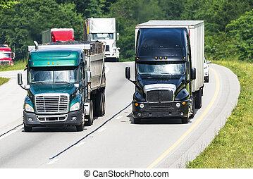 pesado, interestatal, tráfico, camión, carretera